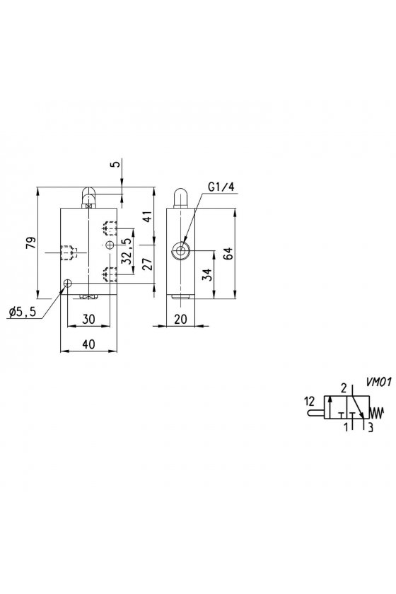 134-945 VALVULA 3/2 NC, ACC. FRONTAL 1/4