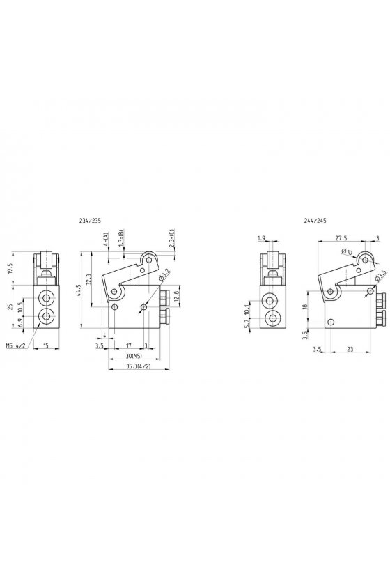 235-955 VALVULA 3/2 N.C. ACC. LEVA. Y ROD. M5