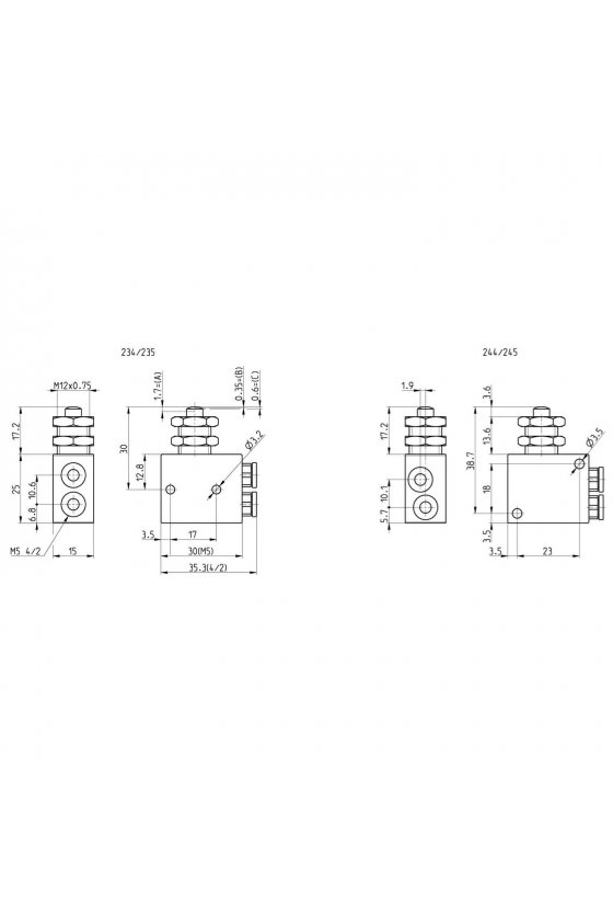 244-985 VALVULA 3/2 N.A. ACC. FRONTAL PANEL