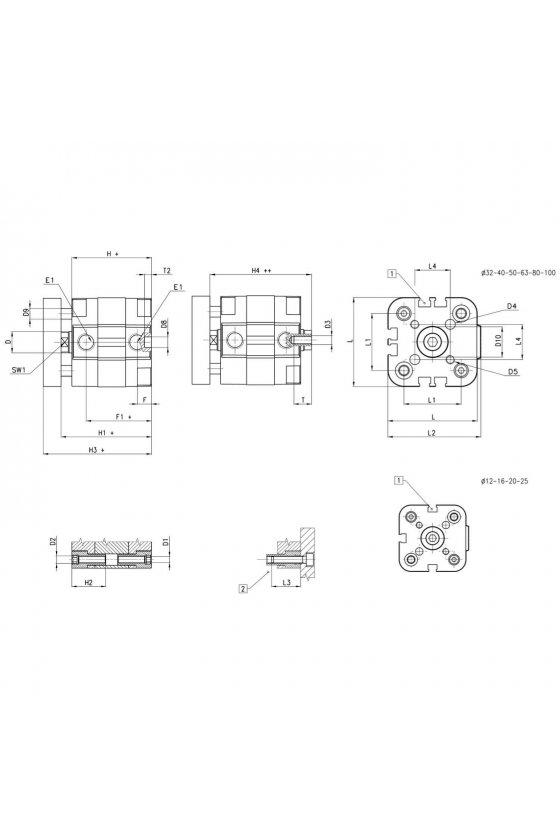 31R2A025A025W CILINDRO COMPACTO D.E. MAG. ANTIGIRO