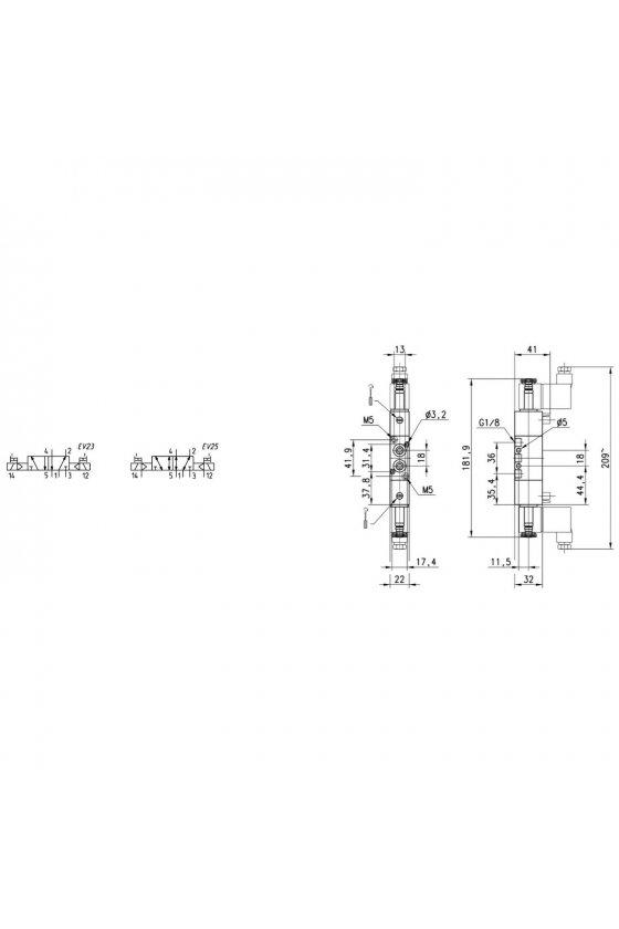 364-011-02 ELECTROVALVULA 5/3 C.C. BIESTABLE 1/4