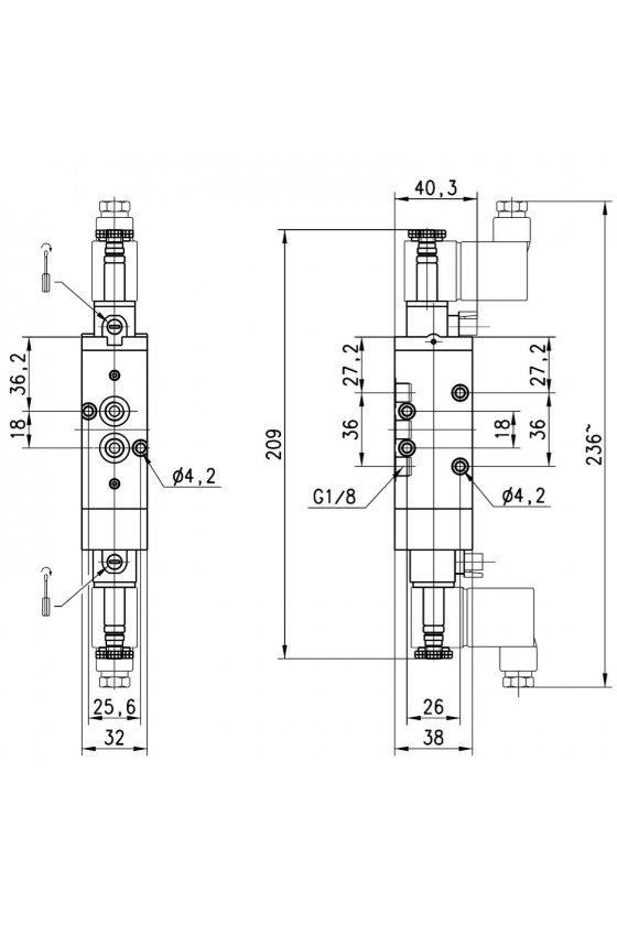 468-011-22 ELECTROVALVULA 5/3 C. CERRADOS 1/8