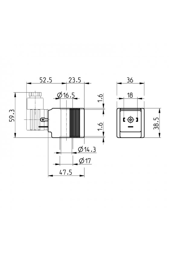 B93 SOLENOIDE  (36X36),  24VCD