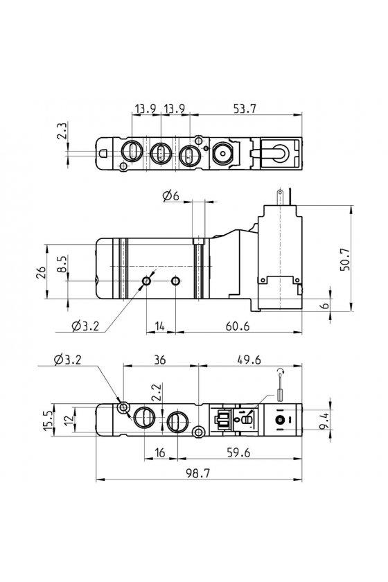 EN531-16-PN3 VALVULA, T-16, 5/2,  MONOEST. CONEX
