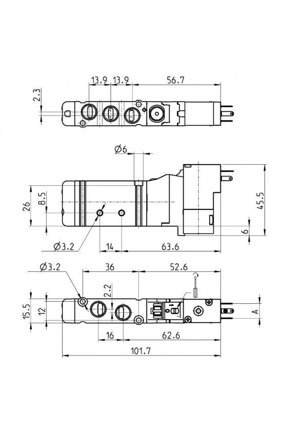 EN551-16-P13 VALVULA, T-19, 5/2,  MONOEST. C/ROSC-