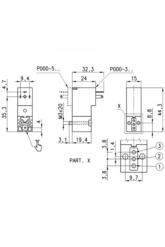 P000-305-P53 ELECTROVALVULA 3/2, N.C. 24VCD,2W,