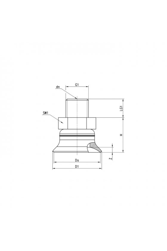 VTCF-0400S-1/8M VENTOSA PLANA REDONDA 40mm, R-1/8