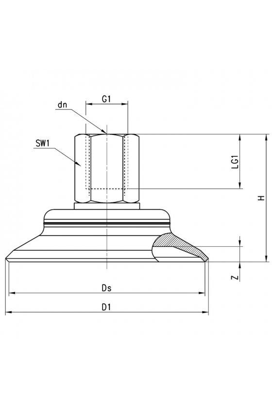 VTCF-0800N-1/4F VENTOSA NBR PLANA REDONDA 80mm, R-
