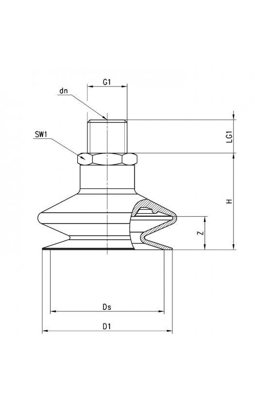 VTCL-330S-1/4M VENTOSA  MUELLE (1.5) 33mm, R-1/4