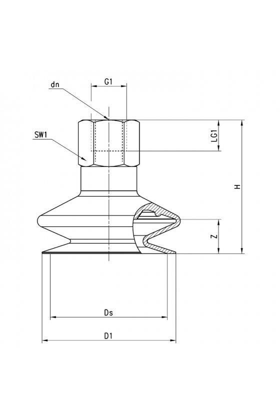 VTCL-530S-1/4F VENTOSA VACIO MUELLE (1.5) 53mm, R-