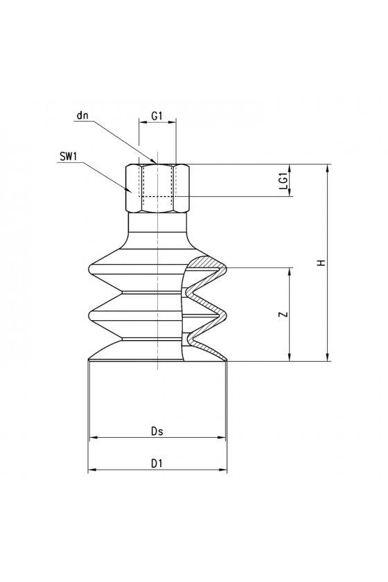 VTCN-520N-1/4F VENTOSA MUELLE (2.5) 52mm,R-