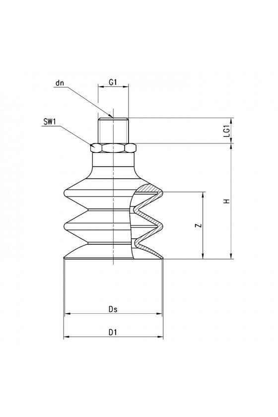 VTCN-520S-1/4M VENTOSA MUELLE (2.5) 52mm, R-1/4