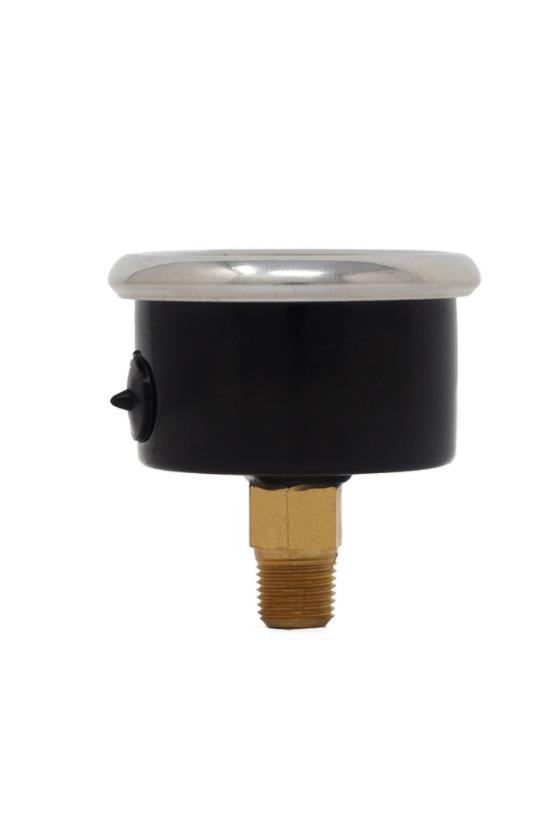 """15IB8P 00030 Manómetro carátula 1 1/2"""" 0-30 psi caja de acero negro bourdon de bronce cnx 1/8"""" inf."""