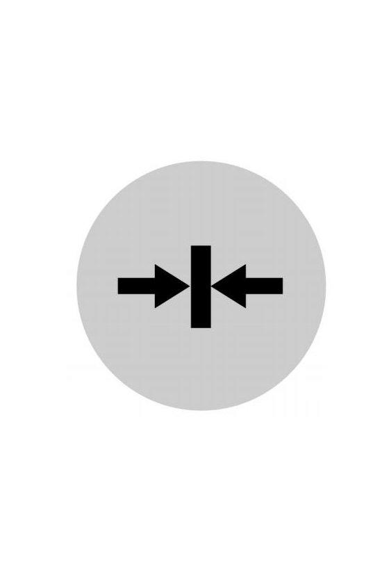 218312 M22-XDL-W-X14 Lente de botón, plano blanco, símbolo de abrazadera