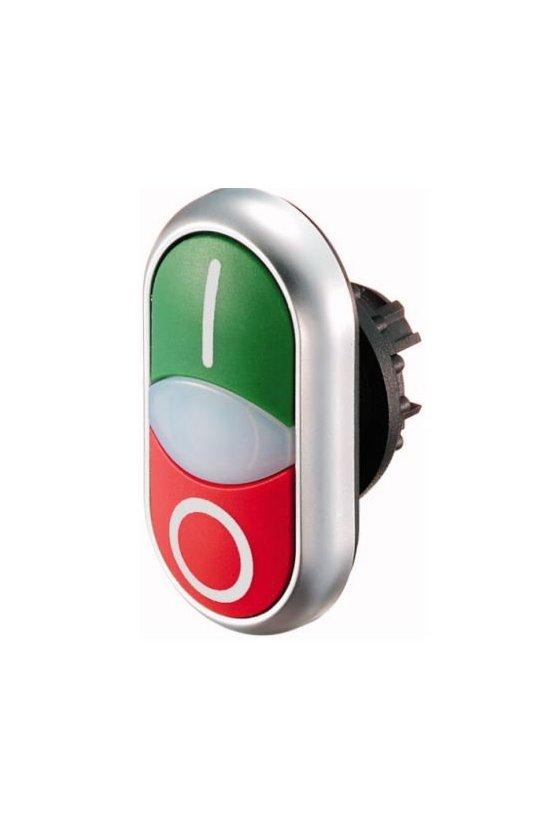 216700 M22-DDL-GR-X1-X0 Pulsador de doble actuador, + luz indicadora, verde I / blanco / rojo 0