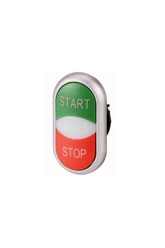 216702 M22-DDL-GR-GB1-GB0Pulsador de doble actuador, + luz indicadora, verde START / blanco / rojo STOP