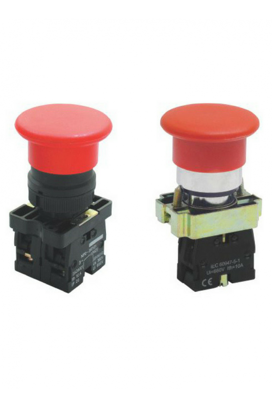 SLMFN1M6 Botón Pul Tipo Hongo 60mm Rojo