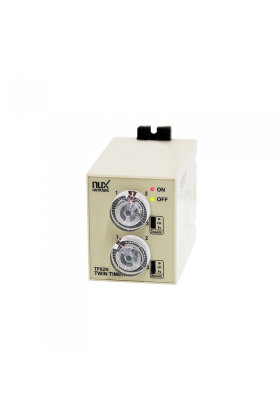 TF62DE01F Timer Doble tiempo 58x84mm 1seg 1hr  8 pin 24-240vcd-vca salida 2NA + 2NC
