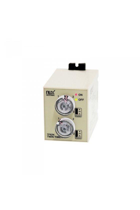 TF62DE03F Timer Doble tiempo 58x84mm 3sec-3hr 8 pin 24-240vcd-vca salida 2NA + 2NC