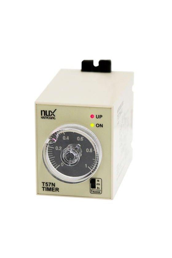 T57NP10A Timer 54x84mm  8pin dual tipo panel rango 10sec,10min,10hr on delay con 1 salida de tiempo limite.