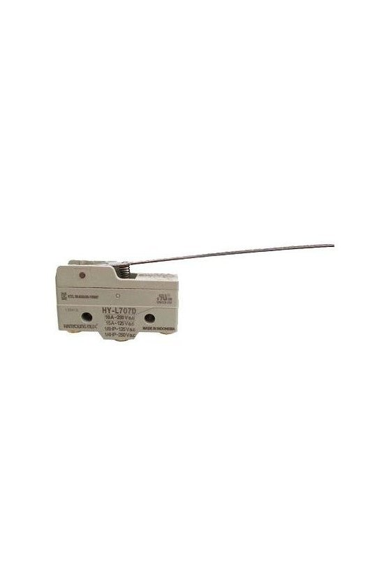 HYPR708A Micro Switch básico con palanca 100mm 1NA+1NC 10amp 250vca