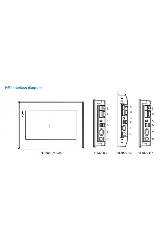 HT3000-7EW Pantalla hmi 7 in 800 x 480 iot cloud hmi hs 4g + 512m + sd,1 lan (ethernet port), 2 usb, 2 com, wi-fi