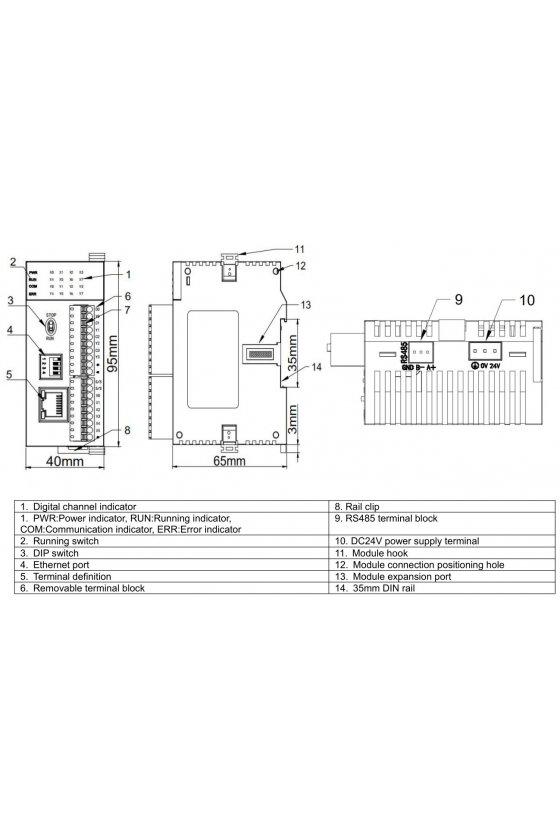 HCS-4X4Y4A-R Unidad PLC económica 4 di 4 do (relay) 2 ai 2ao, con puertos de comunicación tcp+485 dc 24v 3.6 w